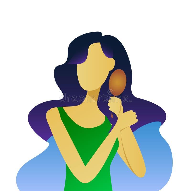 Chica joven hermosa que cepilla su pelo, ejemplo del vector stock de ilustración