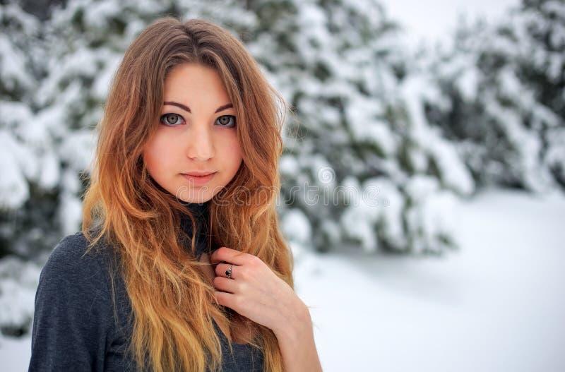 Chica joven hermosa que presenta en el invierno en bosque frío fotografía de archivo libre de regalías