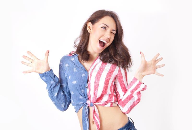 Chica joven muy feliz imagen de archivo