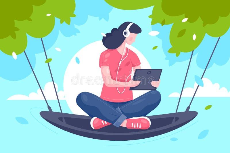 Chica joven plana con la tableta, auriculares en la hamaca en ?rbol stock de ilustración