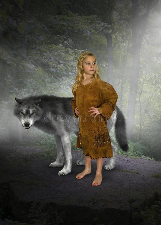 Chica joven, princesa india, lobo foto de archivo