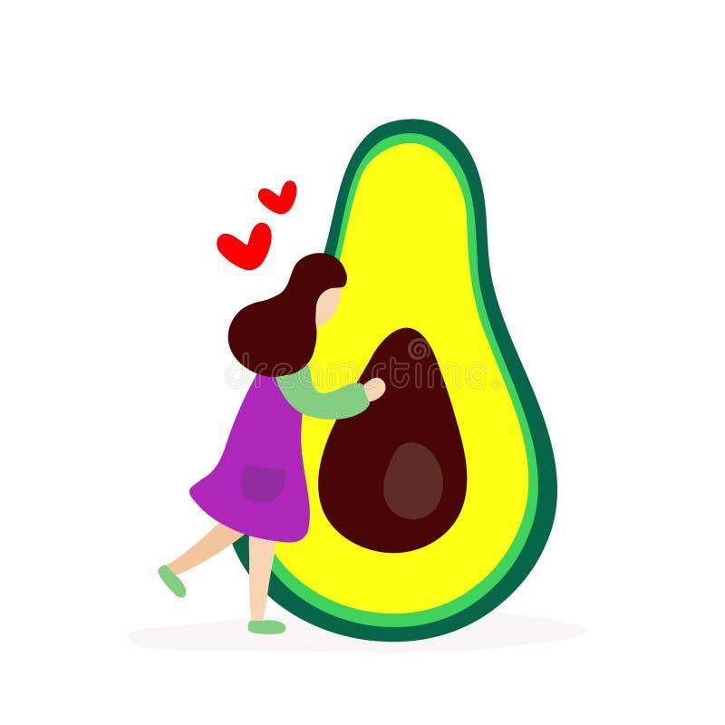 Chica joven que abraza el aguacate grande ilustración del vector