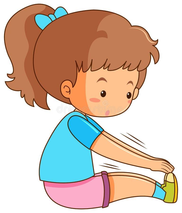 Chica joven que estira en el fondo blanco ilustración del vector