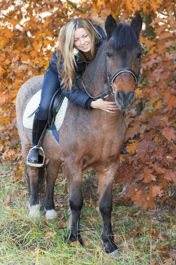 Chica joven que frota ligeramente a caballo un caballo fotos de archivo libres de regalías