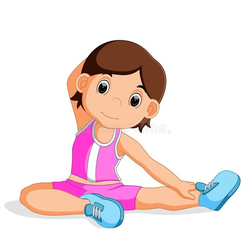 Chica joven que hace yoga ilustración del vector