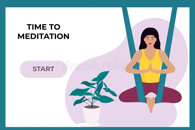 Chica joven que hace yoga aérea en una hamaca Plantilla de aterrizaje de la p?gina libre illustration