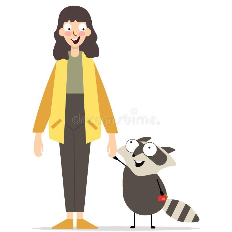 Chica joven que juega con un mapache stock de ilustración