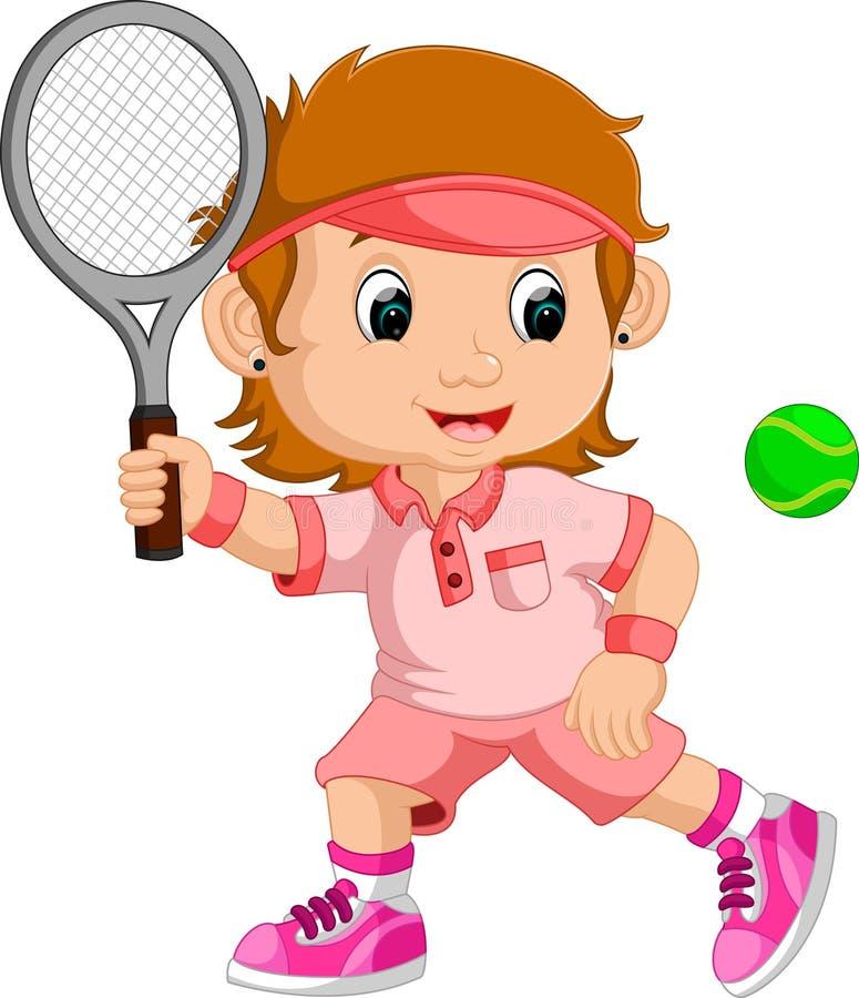 Chica joven que juega a tenis con una estafa stock de ilustración