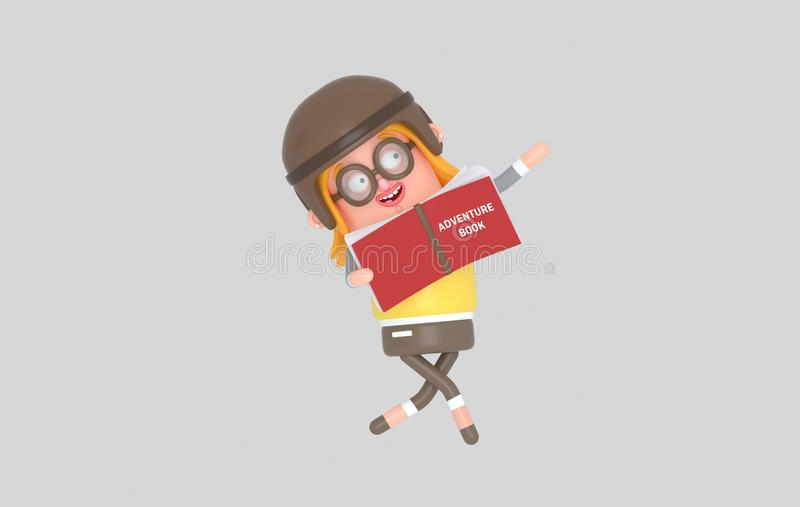 Chica joven que juega y que lee con un libro grande de la aventura ilustración 3D libre illustration
