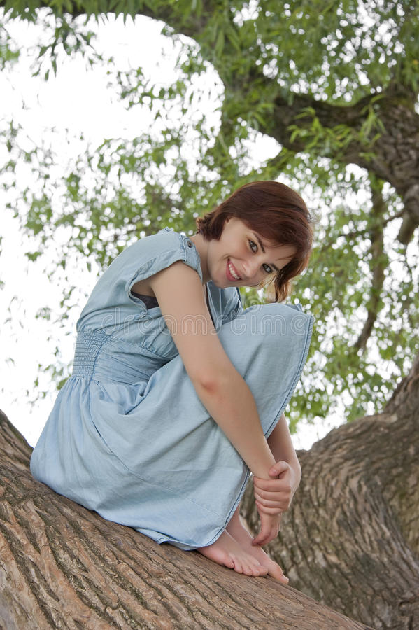 Chica joven que se sienta en un árbol viejo grande foto de archivo