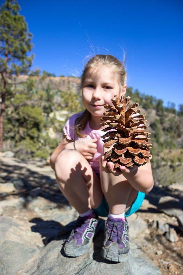 Chica joven que sostiene pinecone gigante disponible Caminar la trayectoria en la montaña de Teno, Tenerife, canario, España fotos de archivo