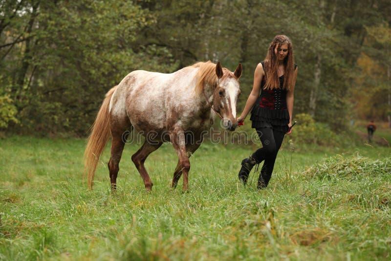 Chica joven que trabaja con el caballo, equitación natural foto de archivo