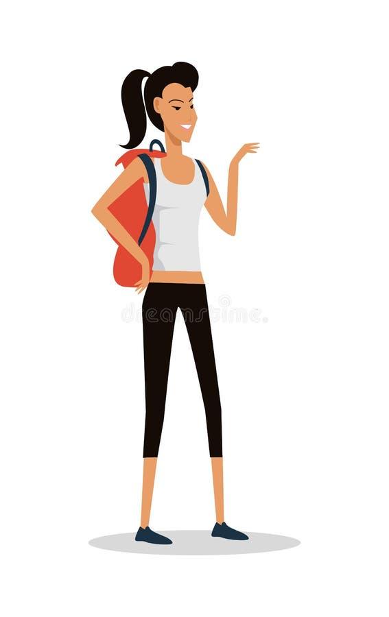 Chica joven sonriente en pantalones cortos con la mochila Vector libre illustration