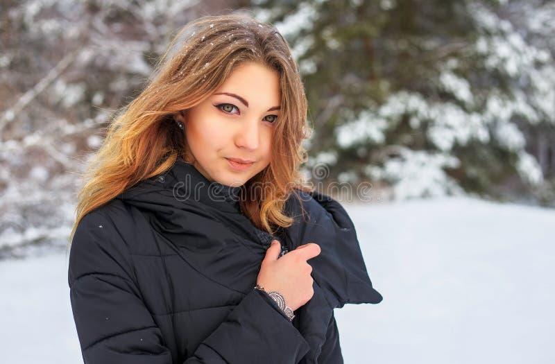 Chica joven sonriente hermosa en el invierno en bosque nevoso imagenes de archivo