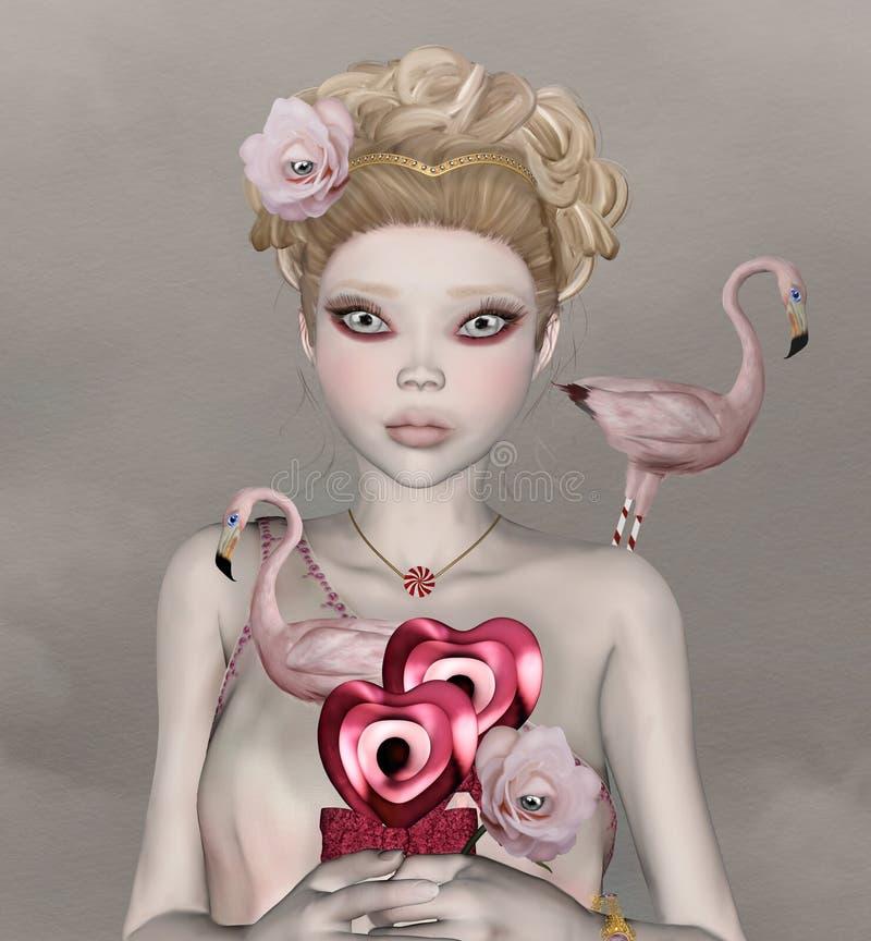 Chica joven surrealista con los ojos grandes stock de ilustración