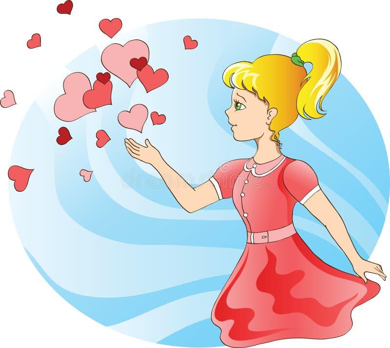 Chica joven y corazones libre illustration