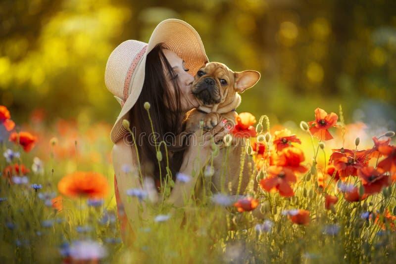 Chica joven y su perrito del dogo francés en un campo con las amapolas rojas imagenes de archivo