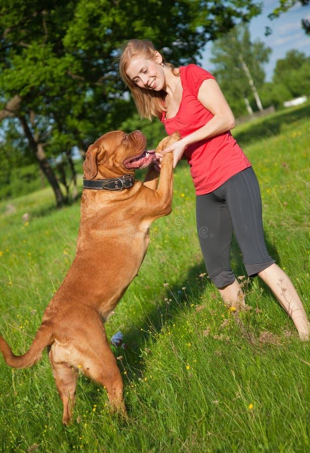 Chica joven y su perro fotos de archivo libres de regalías