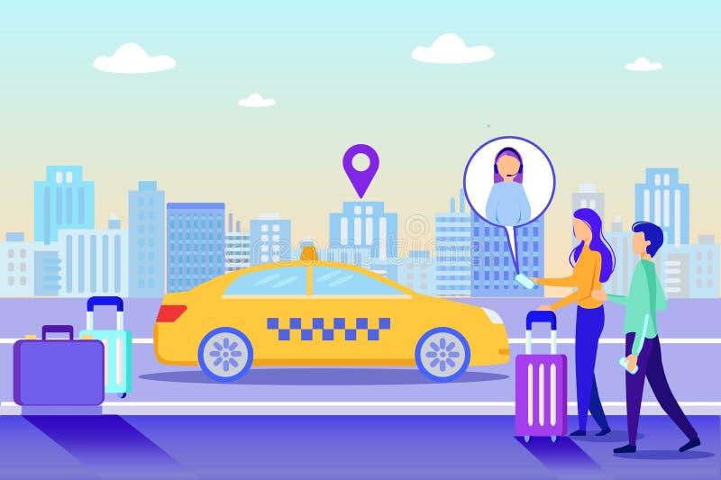 Chica Llamada Pedido De Asistencia En Línea Entrega De Taxi Cab stock de ilustración