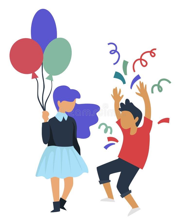 Chica marchosa del cumpleaños con confeti que lanza del globo y del muchacho ilustración del vector