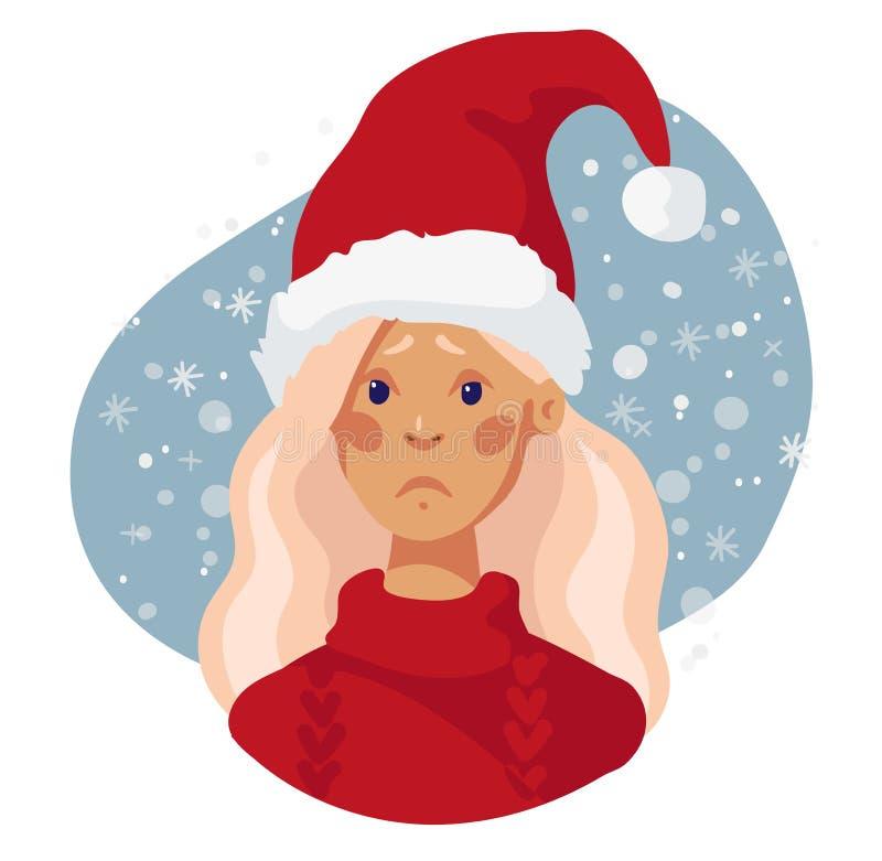 Chica triste con el sombrero rojo de Santa Claus Ilustración de carácter del vector Triste avatar de chica navideña stock de ilustración