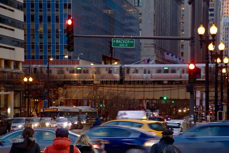 Chicago ögla under rusningstidpendlingssträcka royaltyfri fotografi