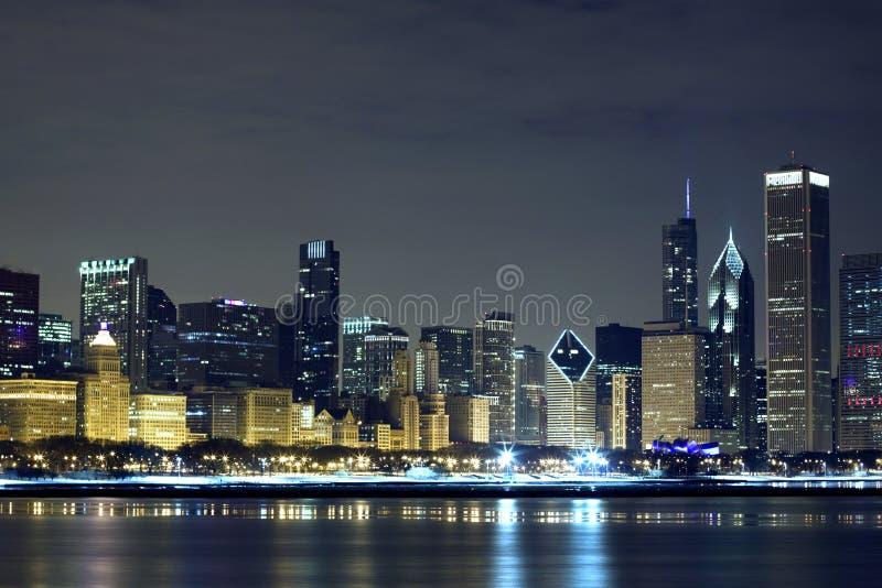 chicago śródmieścia noc obrazy stock