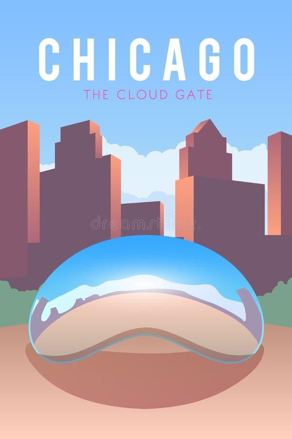 chicago Плакат вектора иллюстрация вектора