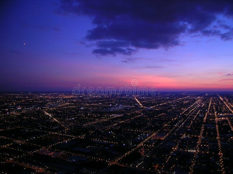 Chicago alla notte, vista aerea fotografia stock