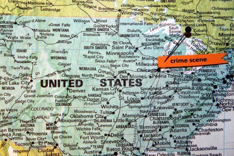 Chicago als Misdaadscène wordt getoond op U dat S kaart stock afbeelding