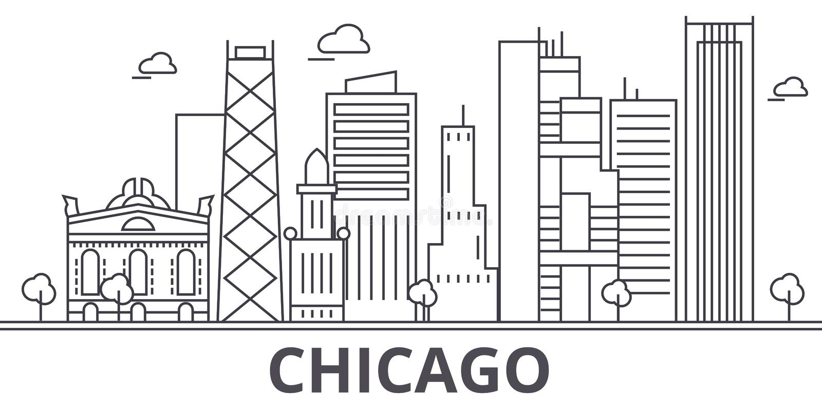 Chicago architecture line skyline illustration. Linear vector cityscape with famous landmarks, city sights, design icons. Editable strokes vector illustration