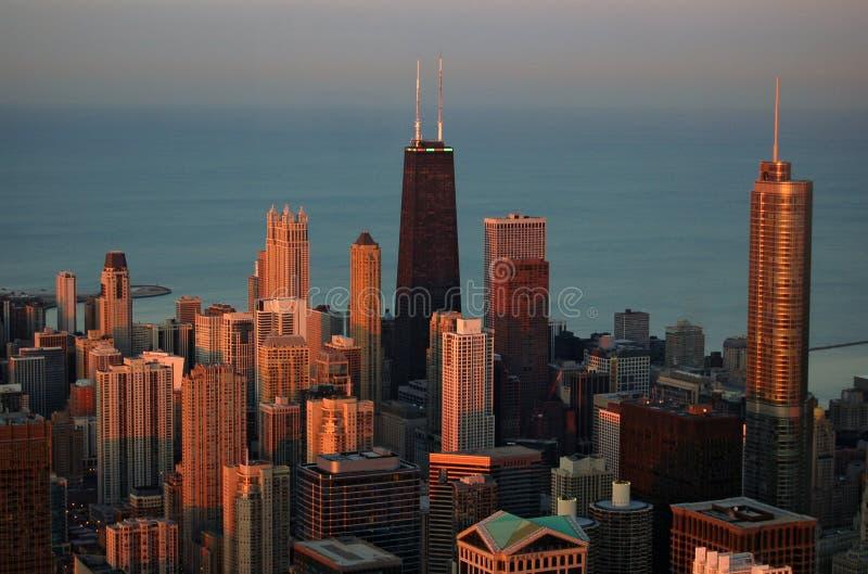 Chicago au coucher du soleil image libre de droits