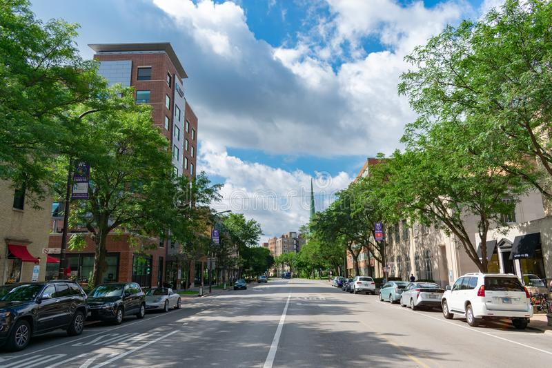 Chicago Avenue in Downtown Evanston with Restaurants and Stores royalty free stock image