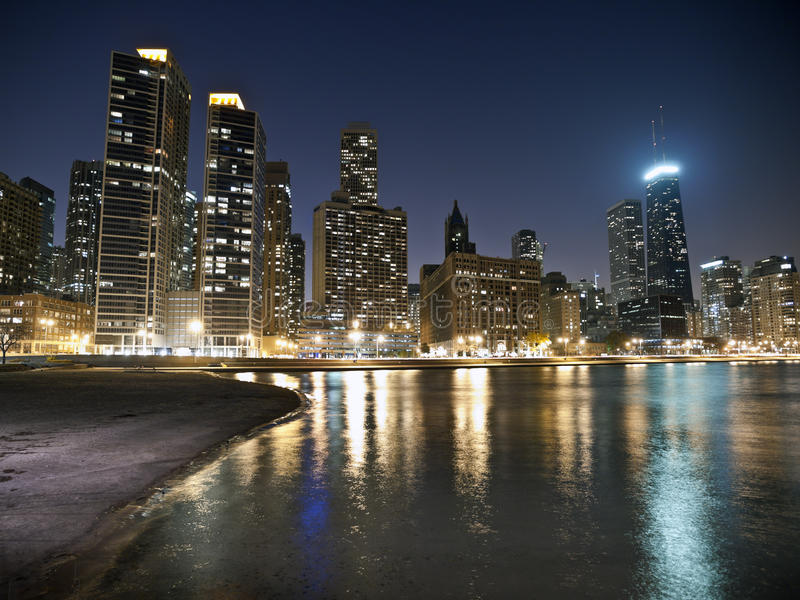 Download Chicago Beach Night stock image. Image of urban, cityscape - 14901081