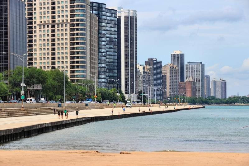Chicago beach skyline stock photography