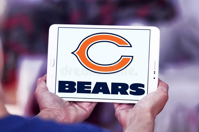 Chicago Bears american football team logo. Logo of Chicago Bears american football team on samsung tablet. The Chicago Bears are a professional American football royalty free stock images