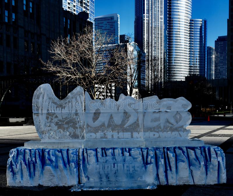 Chicago Bears Ice Sculpture #1. This is a Winter picture of an ice sculpture honoring the Chicago Bears NFL Playoff Game, on exhibit on Pioneer Court along royalty free stock photography