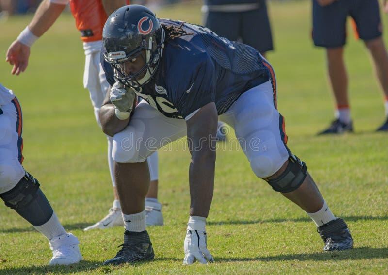 2019 Chicago Bears Training Camp, Offensive Lineman T J Clemmings #79 fotografia stock