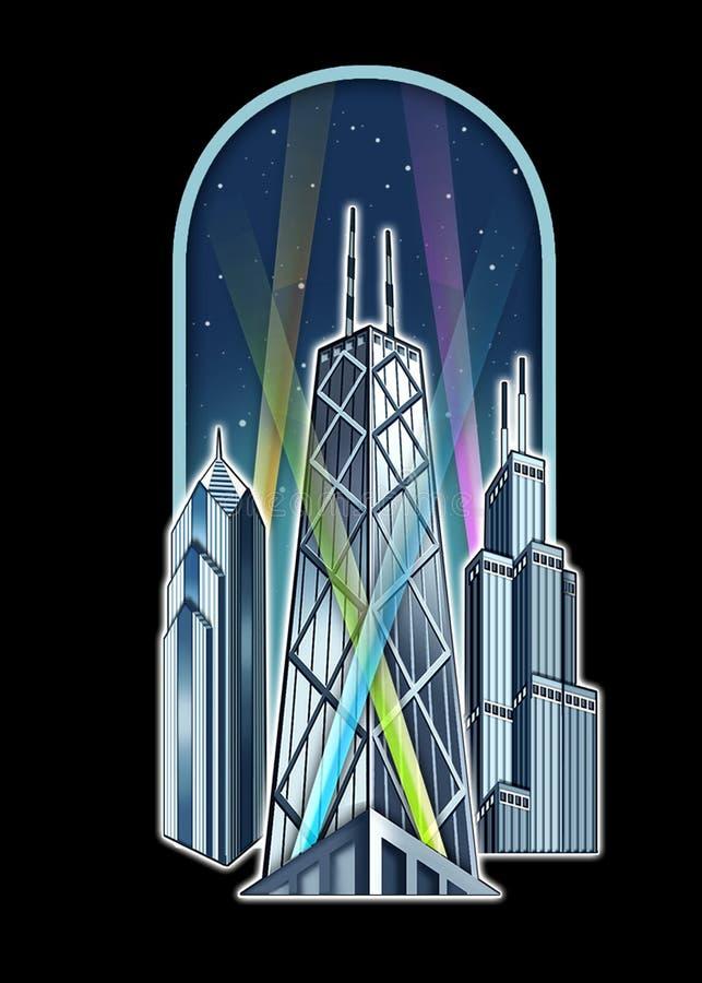 chicago berömda s skyskrapor stock illustrationer