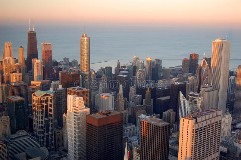 Chicago bij zonsondergang royalty-vrije stock fotografie