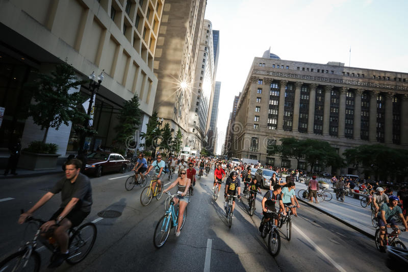 Chicago Bike Ride - Critical Mass Editorial Photography