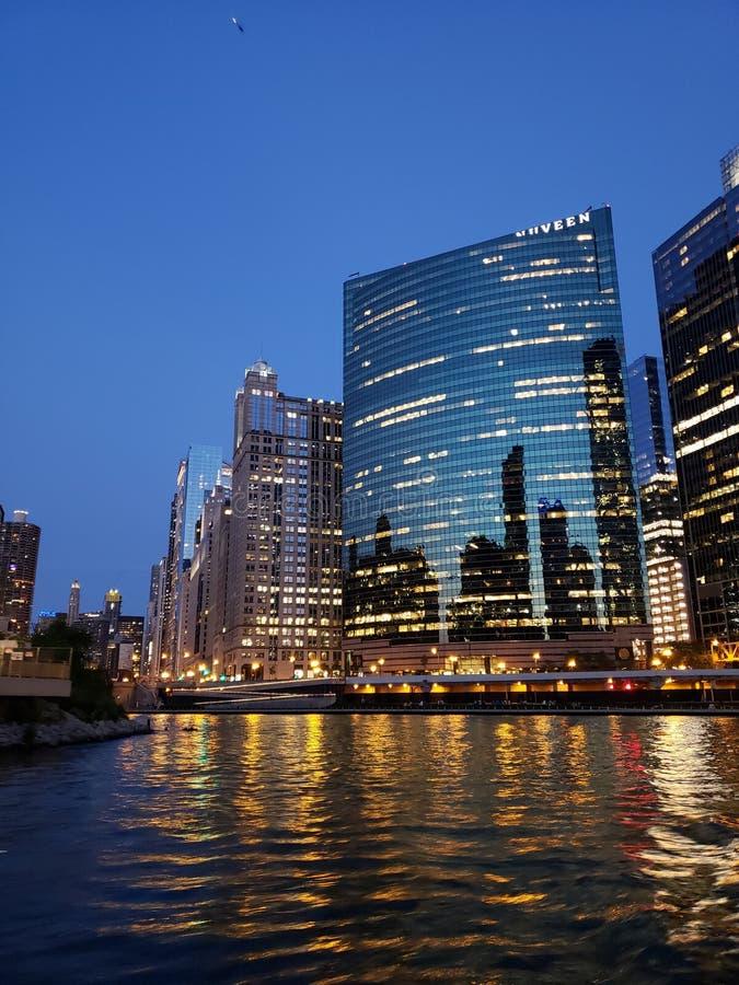 Chicago-Bootsfluß lizenzfreies stockbild