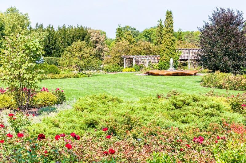 Chicago Botanic Garden, the rose garden area. Chicago Botanic Garden, the rose garden area with Rose Petal Fountain stock photography