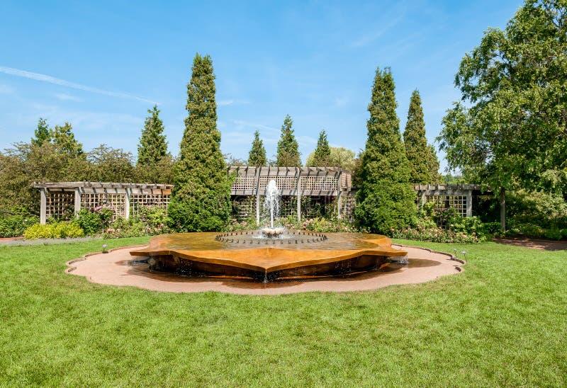 Chicago Botanic Garden, Rose Petal Fountain in the rose garden area, USA. Chicago Botanic Garden, Rose Petal Fountain in the rose garden area, Illinois, USA stock photos