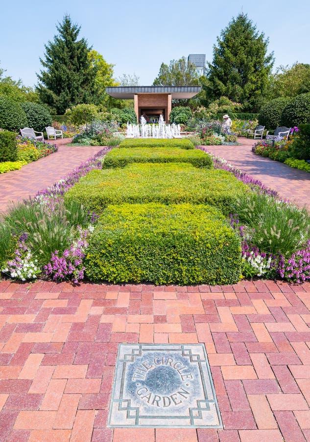 The Circle garden area at Chicago Botanic Garden, Glencoe, USA. The Circle garden area at Chicago Botanic Garden, Glencoe, Illinois, USA royalty free stock photos