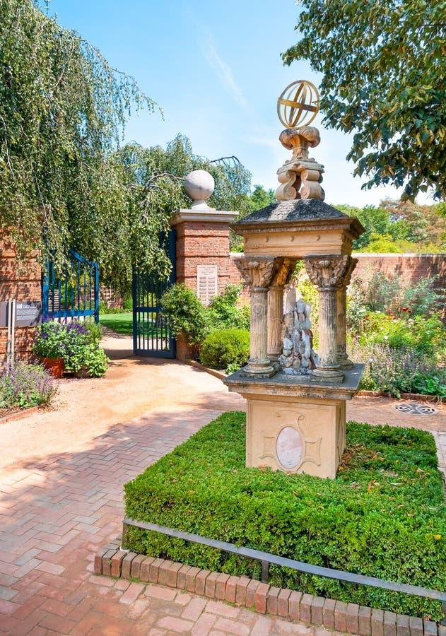 Chicago botaniska Garded, engelska Walled trädgårds- område, USA arkivbild