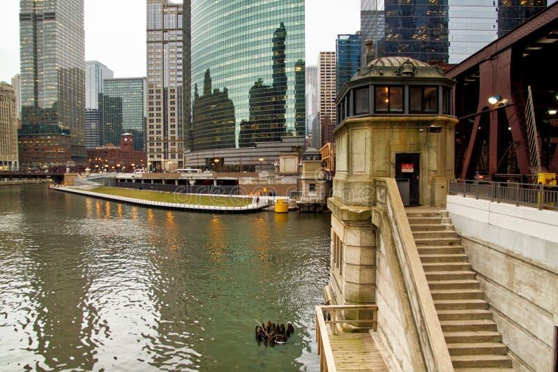 Chicago bridge house along the riverwalk stock photos