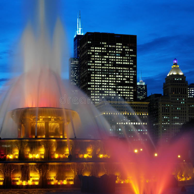 Chicago - Buckingham Memorial Fountains. Buckingham Memorial Fountains in Grant Park on the shore of Lake Michigan in Chicago, Illinois in the United States of royalty free stock photos