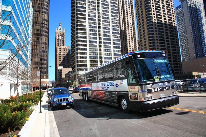 Chicago-Bus und Gebäude lizenzfreies stockfoto