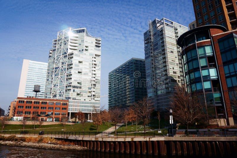 Chicago byggnader, sikt från floden royaltyfri foto